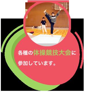 各種の体操競技大会に参加しています。